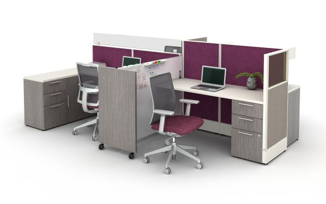 Divi Open Plan Workstations with Custom Mobile Whiteboard and Calibrate Storage.  Shown with Devens Task Seating.