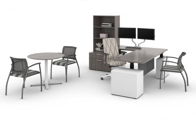 Calibrate Series Private Office with Height Adjustable Desk, Day to Day X-base Round Table, Grafton Side Seating and Bolton High Back Fully Upholstered Seating