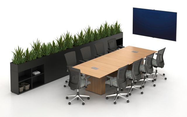 Calibrate Conferencing with integrated power and data, 3 bases, Planters, and Upton Seating