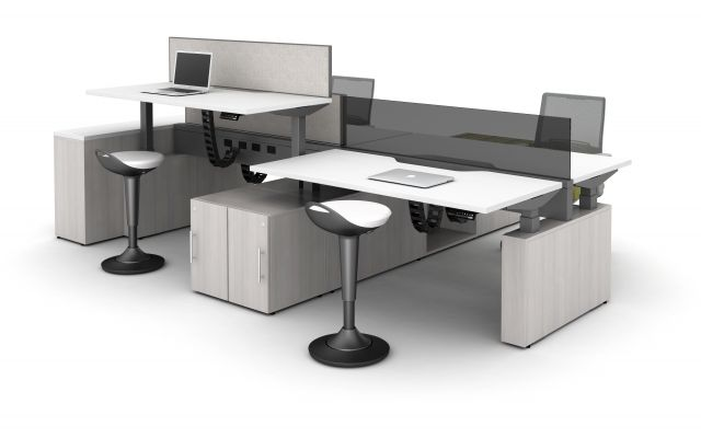 Aloft Height Adjustable Benching Workstations shown with Rutland Perch Seating and Devens Task Seating