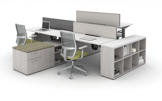 Aloft Height Adjustable Benching Workstations with Devens Task Seating and Calibrate Storage