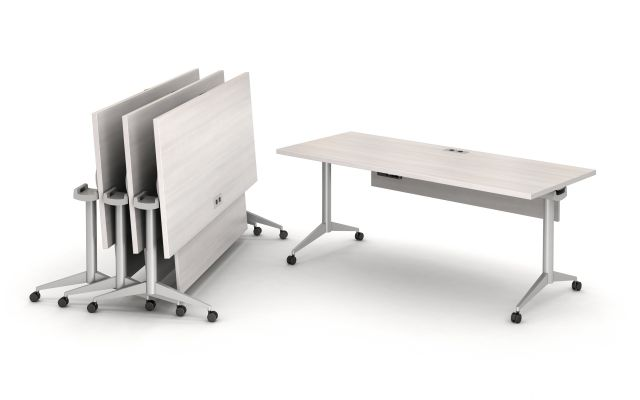 Day to Day Flip-Top Tables with Power/Data and Modesty Panel Nested Together on Casters