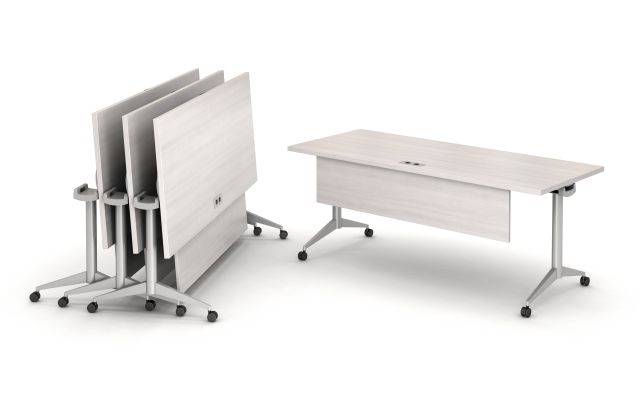 Day to Day Fliip Top Tables with T-Legs and Casters, Nested together and featuring the Modesty Panel