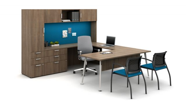 Laminate Spotlight: Aimtoo Savatre on Calibrate Series Casegoods Private Office with Auburn Executive Seating, Grafton Side Seating