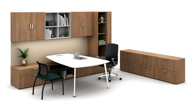 Laminate Spotlight: Brazilwood on Calibrate Series Casegoods Private Office with Pebble Top Desk, Auburn Executive Seating, Grafton Side Seating
