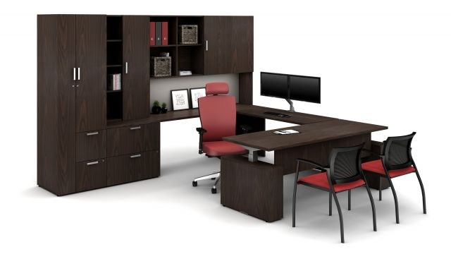 Laminate Spotlight: Corporate Walnut on Calibrate Series Casegoods Private Office with Height Adjustable Desk, Natick Executive Seating, Grafton Side Seating