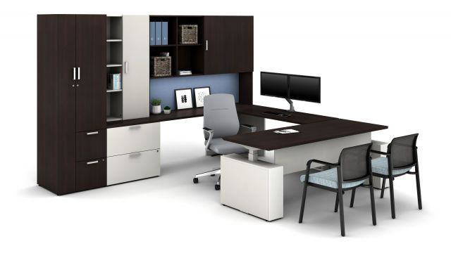 Laminate Spotlight: Nightfall on Calibrate Series Casegoods Private Office with Height Adjustable Desk, Auburn Executive Seating, Paxton Side Seating