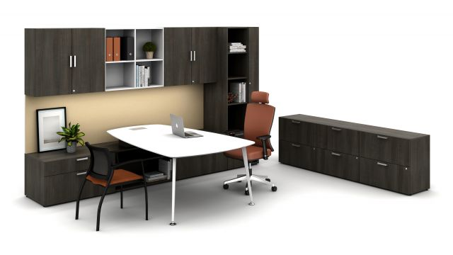 Laminate Spotlight: Trytoo Savatre on Calibrate Series Casegoods Private Office with Pebble Top Desk, Natick Executive Seating, Grafton Side Seating