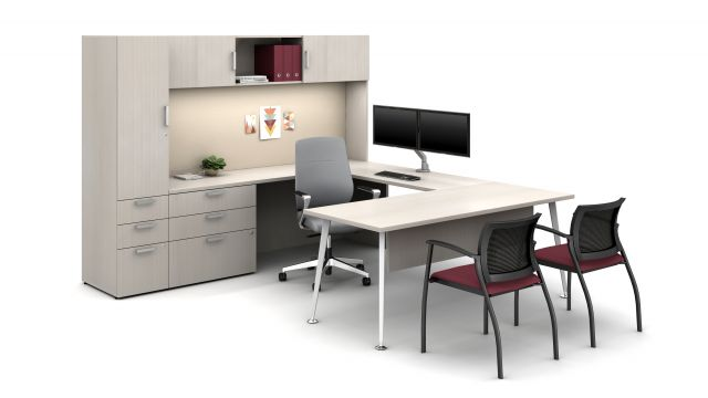 Laminate Spotlight: White Chocolate on Calibrate Series Casegoods Private Office with Auburn Executive Seating, Grafton Side Seating