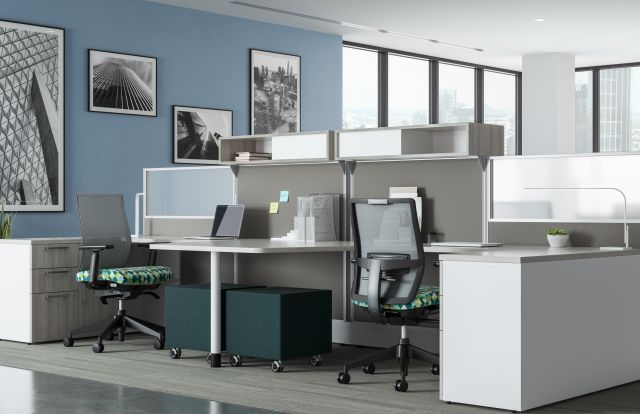 Divi Open Plan Workstations, keytop worksurface, Lim Light, with Devens Task Seating