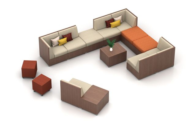 "LB Closed Base Lounge Application with 42"" H Back and LB Backless.  Shown with Volker Seating and LB Laminate Tables"