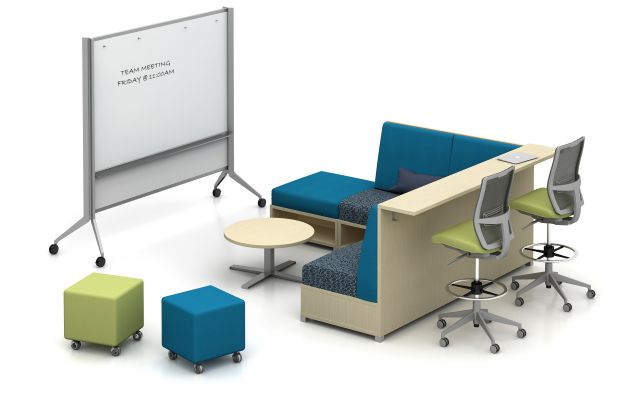 LB Lounge and Ledge with Devens Stools, Volker Cubes and Large Mobile Whiteboard