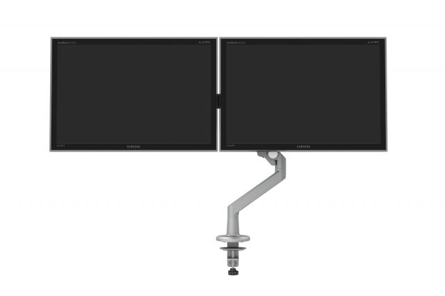 Dual Monitor Arm for Shallow Depth Worksurfaces, front view