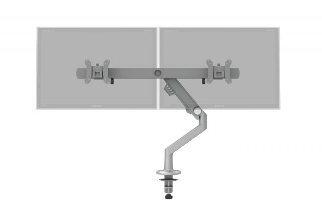 Dual Monitor Arm for Shallow Depth Worksurfaces, front ghosted monitor view