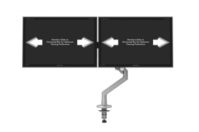 Dual Monitor Arm for Shallow Depth Worksurfaces, sliding view