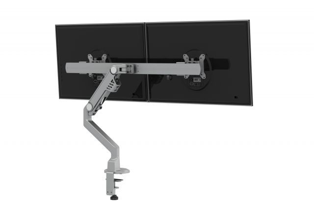 Dual Monitor Arm for Shallow Depth Worksurfaces, back quarter view