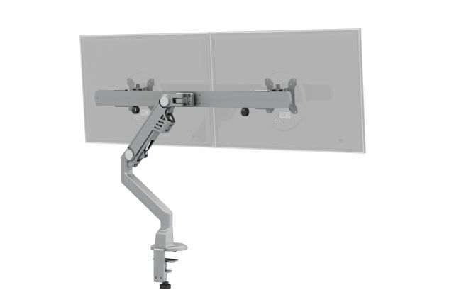 Dual Monitor Arm for Shallow Depth Worksurfaces, back ghosted monitor view