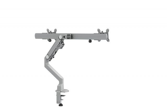 Dual Monitor Arm for Shallow Depth Surfaces, back view