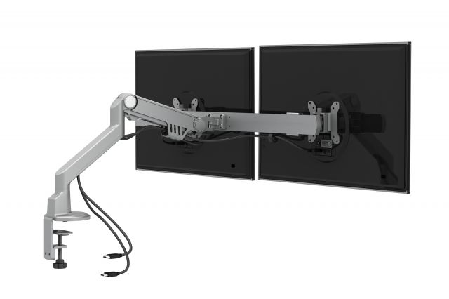 Dual Monitor Arm for Shallow Depth Worksurfaces, back view with cords