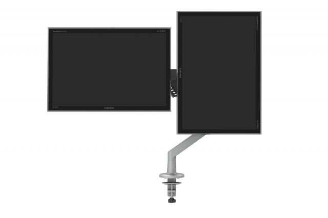 Dual Monitor Arm for Shallow Depth Worksurfaces, landscape and portrait monitors