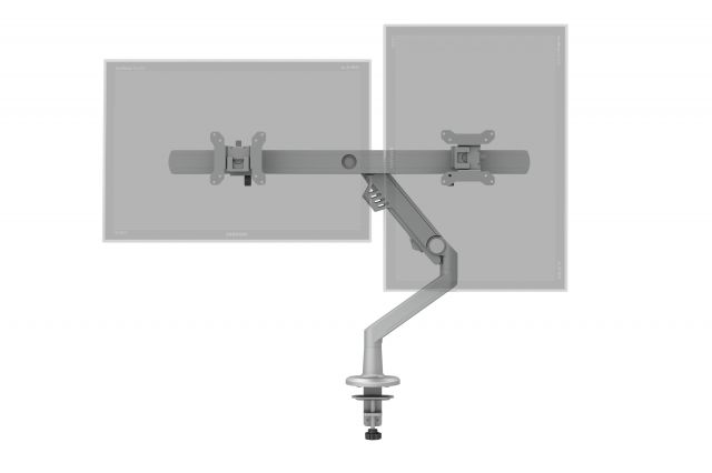 Dual Monitor Arm for Shallow Depth Surfaces Portrait and Landscape Monitors