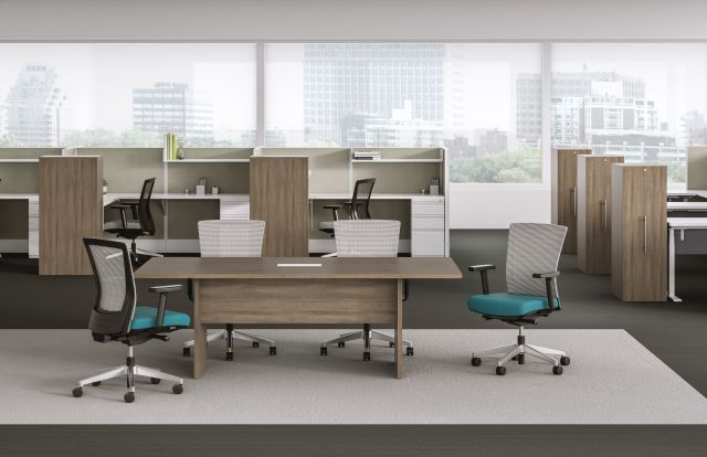 Calibrate Series Recessed End Panel Conference Table with half modesty, Divi and Upton also shown