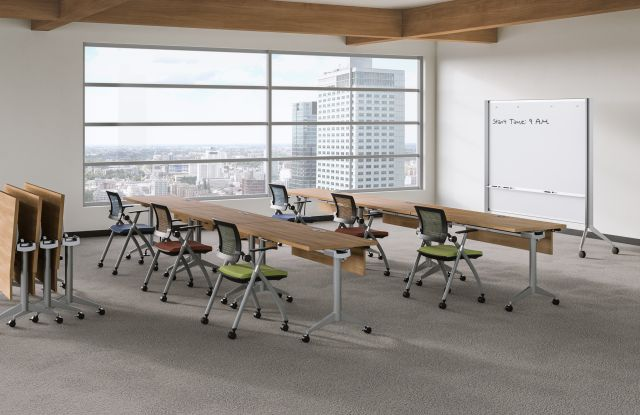 Day to Day Training Room with Flip-top Tables and Stow Seating