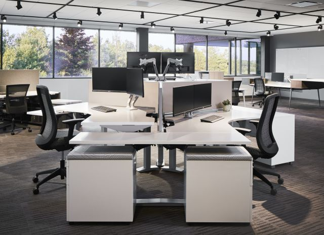 Aloft 120 Degree Benching Workstations with Bolton Task Seating