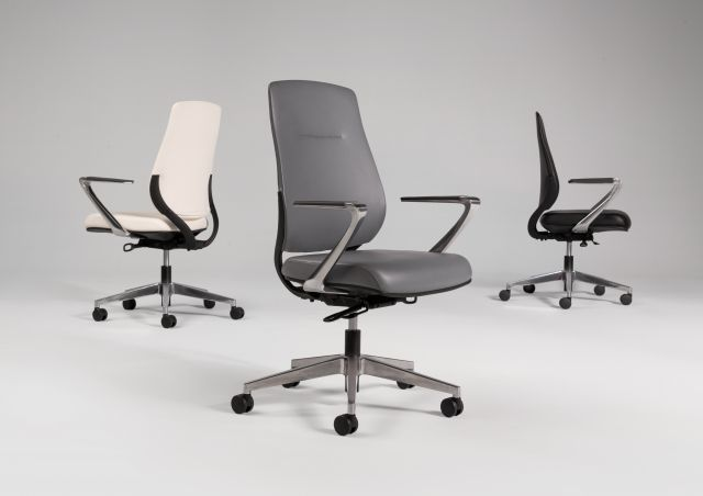 Auburn Conference/Executive Chairs in three color options of Ivory, Grey and Black Polyurethane