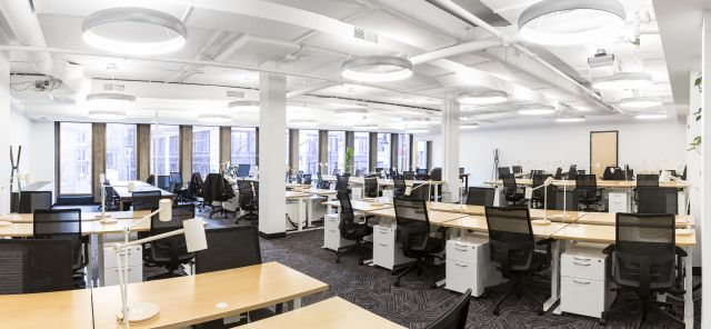Client Space: Day-to-Day Height Adjustable Tables with L Series Steel Storage and Devens Seating
