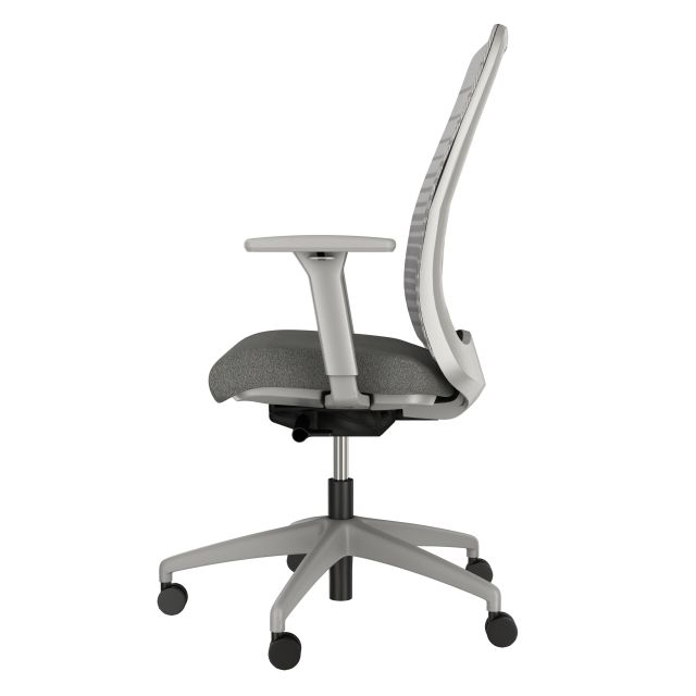 Bolton High Back, with grey base, grey graduated/striped mesh, and standard grey fabric seat, Side View