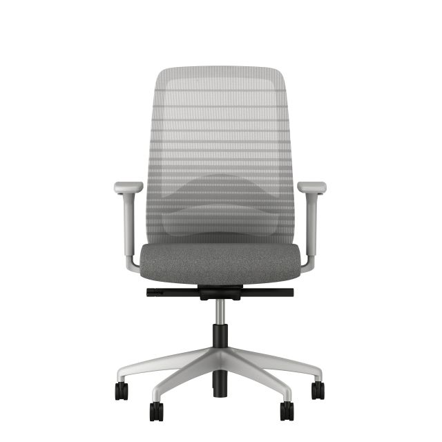 Bolton High Back, grey base, grey graduated/striped mesh, with lumbar and standard grey fabric, front view