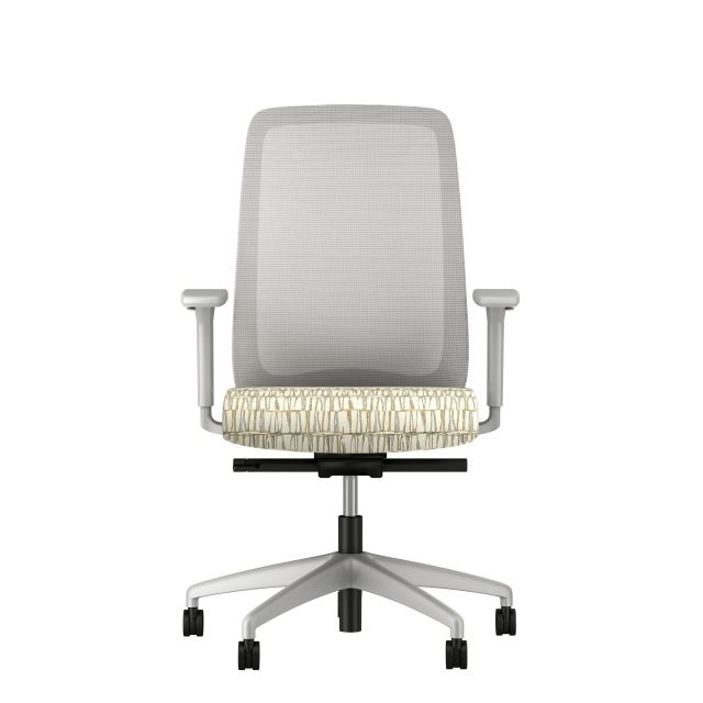 Bolton High back with grey base, grey solid mesh, and Brentanoo Raku White Crackle Fabric seat, front view