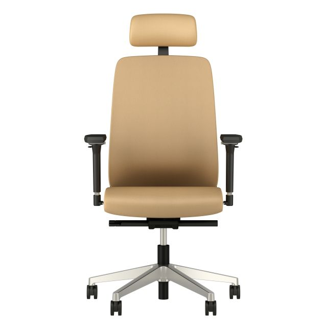 Bolton High Back with Aluminum Base, Headrest, 3D Arms, Fully Upholstered in Nassimi Foundation Doe, Front View