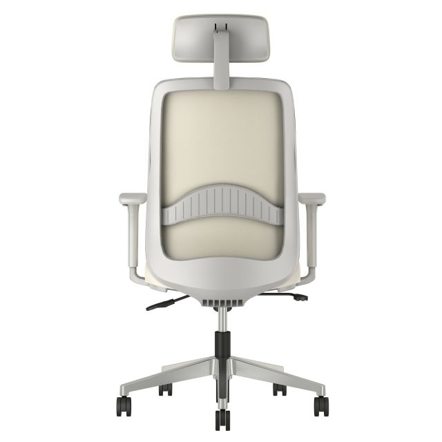 Bolton High Back with Aluminum Base, Headrest, Lumbar, 3D Arms, Fully Upholstered in Nassimi Foundation Ivory, Back View