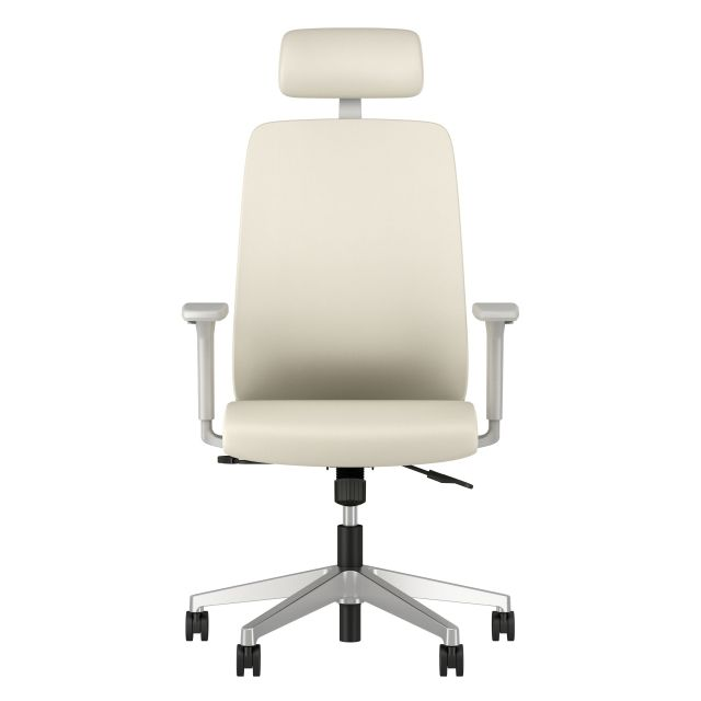 Bolton High Back with Aluminum Base, Headrest, Lumbar, 3D Arms, Fully Upholstered in Nassimi Foundation Ivory, Front View