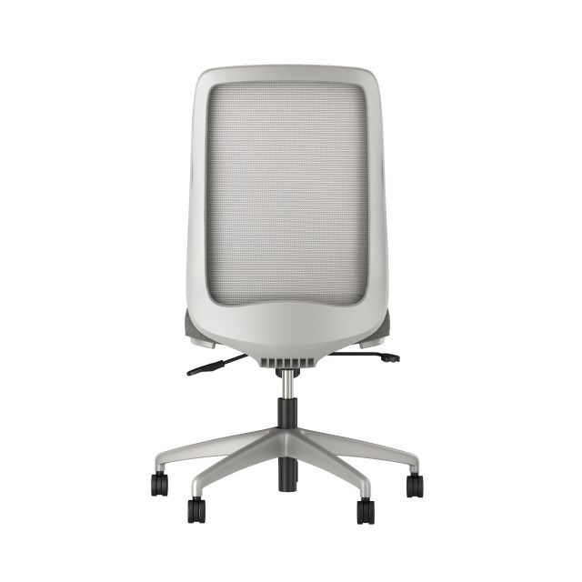 Bolton High back armless with grey base, solid grey mesh, with standard grey fabric seat, back view