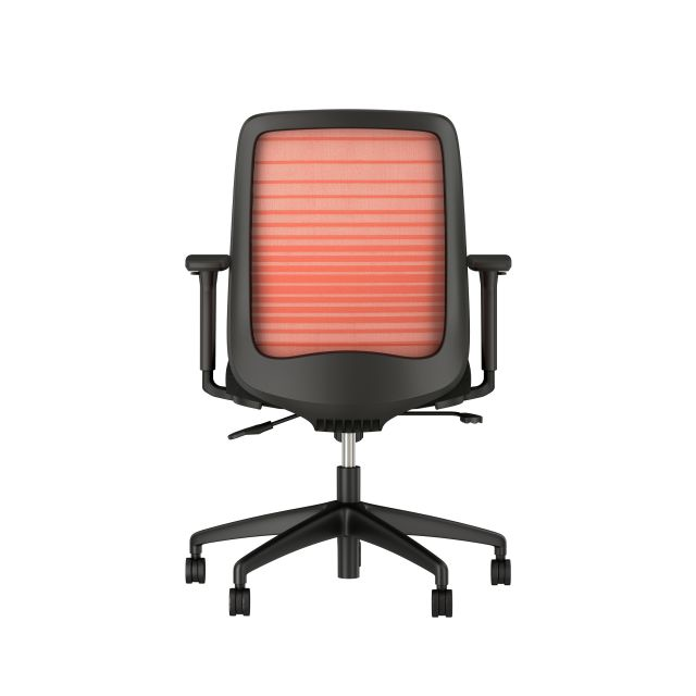 Bolton Mid back with Graduated/Striped Orange Mesh and Standard black fabric seat, back view