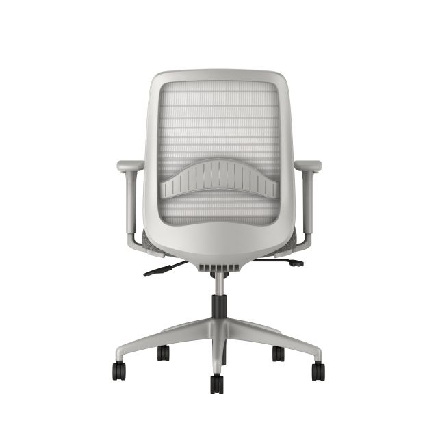 Bolton midback with grey base, grey graduated/striped mesh, with lumbar and standard grey fabric seat, back view
