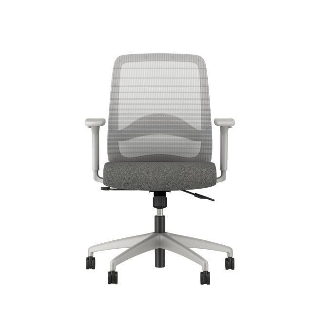 Bolton midback with grey base, grey graduated/striped mesh, with lumbar and standard grey fabric, front view