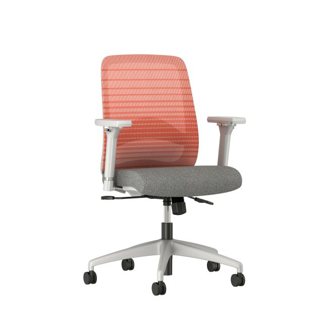 Bolton midback with grey base, orange graduated/striped mesh, lumbar and standard grey fabric seat