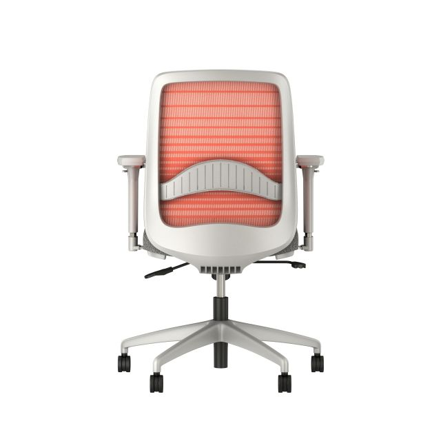Bolton midback with grey base, orange graduated/striped mesh, lumbar and standard grey fabric seat, back view