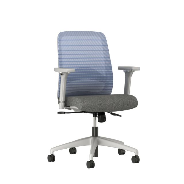 Bolton mid back with gray base and frame, graduated/striped blue mesh with lumbar and standard grey fabric, 3/4 view