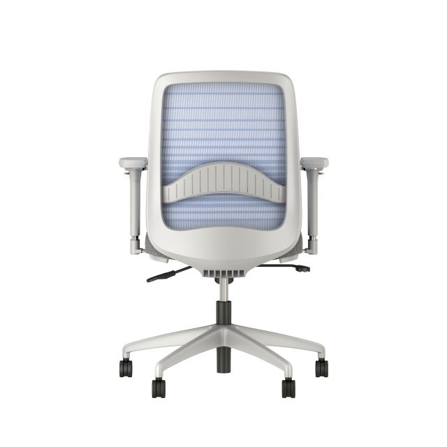 Bolton mid back with gray base and frame, graduated/striped blue mesh with lumbar and standard grey fabric, back view