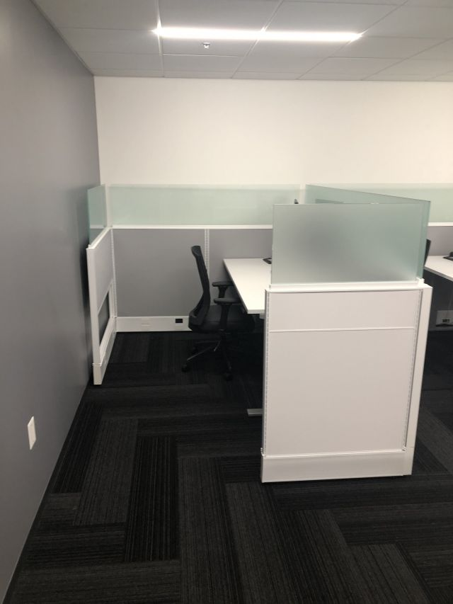 """Divi with 16"""" H Frosted Glass Channel Screens, client space"""