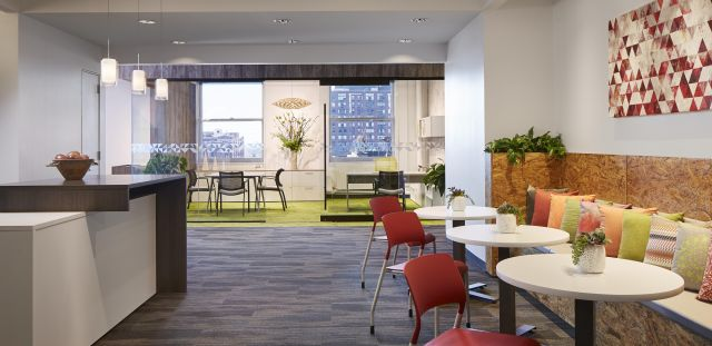 NeoCon 17 Custom Calibrate Cafe with Universal Tables, Pierce Seating and  Enclosed Calibrate Private Office