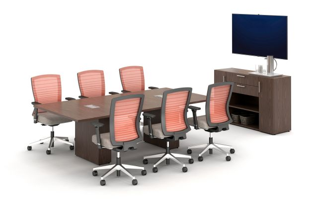 Calibrate Conferencing Two Base Power and Data Integrated Table with Calibrate Series Storage