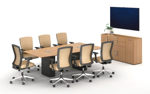 Calibrate Conferencing Two Base Table with Integrated Power.  Shown with Calibrate Series Storage