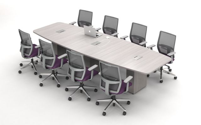 Calibrate Conferencing with Boat Top, Three Bases and incorporated Power and Data.  Shown with Devens Task Seating.