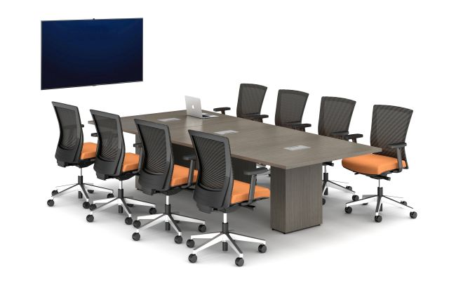 Calibrate Conferencing 3 Base Tables with Integrated Power.  Shown with Upton Seating.